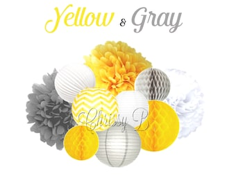 YELLOW AND GRAY 10-Piece Tissue Pom, Paper Lantern & Honeycomb Tissue Ball Set - Themed Party Decorations, Yellow and Gray Baby Shower Decor