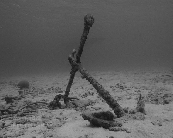 Underwater Photography print in Black and White of Anchor Underwater 8x10 Nautical Home Decor Masculine