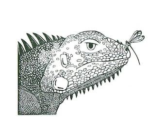 Insect Irritating Iguana - Lino Print