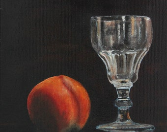"""FREE SHIPPING Kitchen Still Life Original Food Painting Grandfather's Wineglass with Nectarine 7,87""""x7,87"""" Acrylics on canvas"""