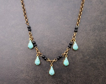 Vintage Necklace with Vintage Czech Glass Drops & 1940's Connectors; Boho Necklace; Upcycled Jewelry