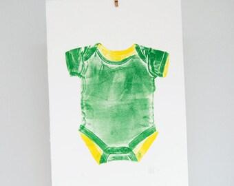Customizable baby onesy print, rompertje, nursery decor, hand printed wall art, green, yellow
