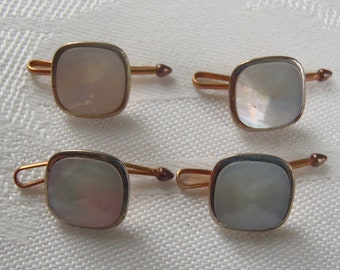 Vintage Shirt Studs Mother of Pearl Centers 4 Pieces