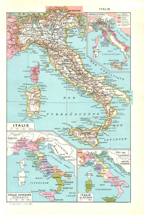 Map of italy 1948 vintage italy map antique map of italy gift map of italy 1948 vintage italy map antique map of italy gift antique italy map wall hanging old world map vintage europe map old italy map gumiabroncs Choice Image
