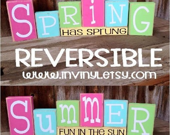 Reversible SPRING and/or SUMMER Wood Blocks home decor holiday vinyl lettering. You can pick one or the other or Both