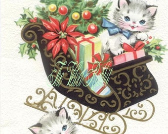 Christmas kittens on sled, one fabric block.  You select the size you want.