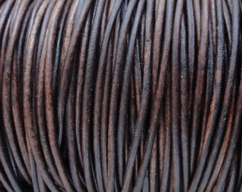 10 Yards Antique Brown Distressed 2mm Leather Cord Round Natural Dyed - Perfect for Wrap Bracelets