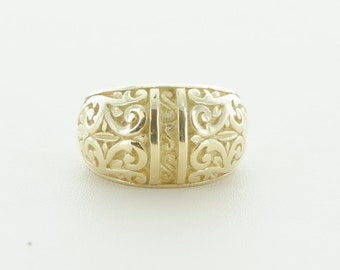 14K Yellow Gold Domed Carved Ring
