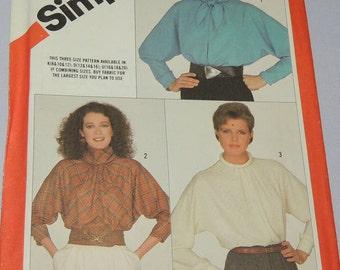 sz 12-14-16 UNCUT Simplicity 6070 Blouse Pattern 1983