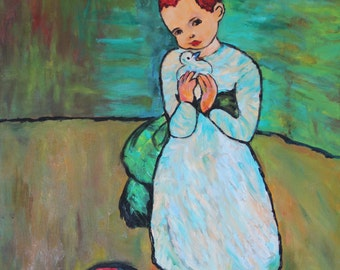 Picasso's Child with Dove print - Set of 8 Notecards - 5x7 -  from my oil painting