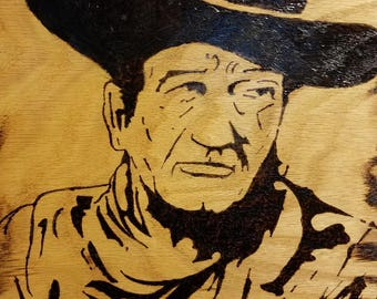 John Wayne - Wood Burned Art  16 x 20