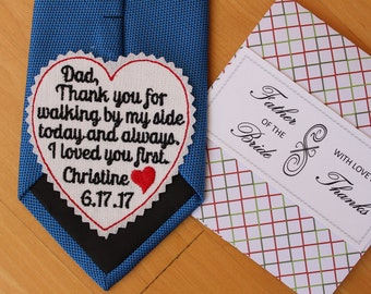 Father of the Bride Tie Patch, gift wrap, tie label, wedding gift for dad, Beautiful Monogrammed Tie Patches. Father of the Bride Gift. TLH3