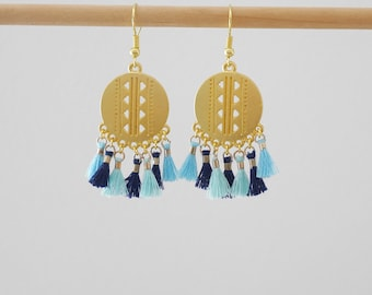 Dangling style ethnic Navy Blue, aquamarine, sky blue and gold tassel (BO191)