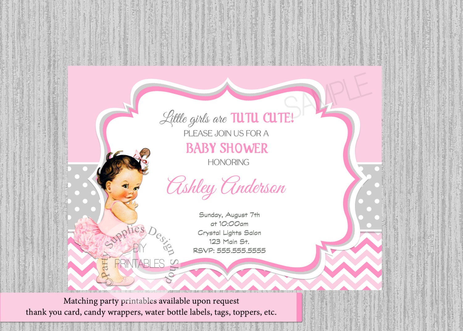 Ballerina Baby Shower Invitations Tutu Ballerina Baby Shower