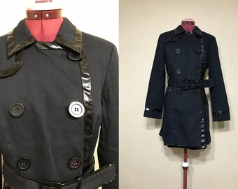 vintage 90's trench coat. black trench coat. Medium