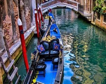 Italy photography - Intermezzo - Venice - Fine art travel photography - indigo blue, green, red