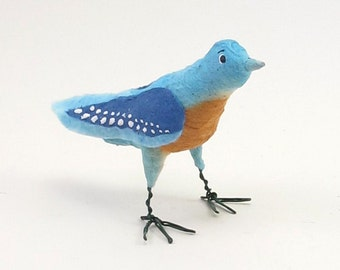 Vintage Inspired Spun Cotton Bluebird Ornament/Figure (MADE TO ORDER)