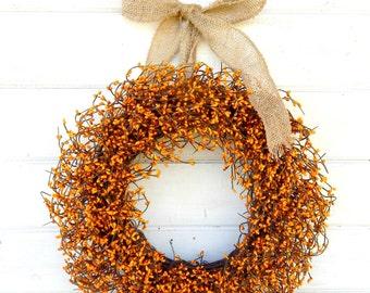Fall Door Wreath-Thanksgiving Wreath-Burlap Wreath-AutumnDecor-PUMPKIN ORANGE Wreath-Rustic Home Decor-Scented Wreath-Custom Made Gifts USA