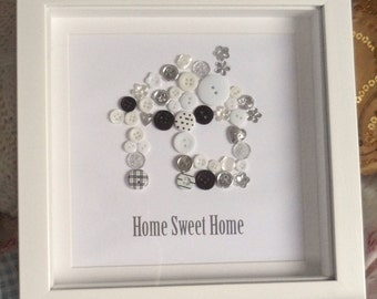 Home Sweet Home Button Print Wall Art Picture Housewarming Christmas Gift
