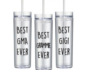 Best Grammie Ever Tumbler, Gma Gift Gigi Gift, Awesome Best in the World Gift, World's Best Gender Reveal Pregnancy Announcement Grandmother