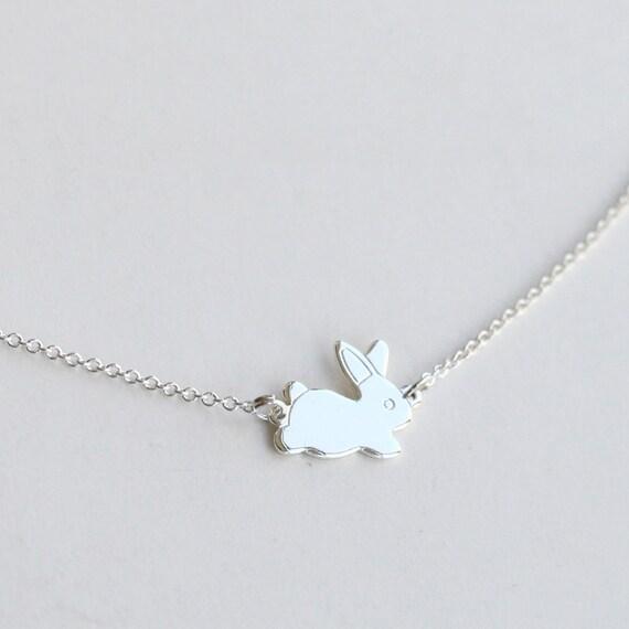 Silver rabbit necklace bunny necklace silver rabbit rabbit like this item aloadofball Choice Image