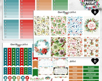 Vertical Weekly Kit Planner Stickers - Watercolour Christmas | Boxes, MDN Stickers, Icons | For Use With Erin Condren Life Planner™ (EC-029)