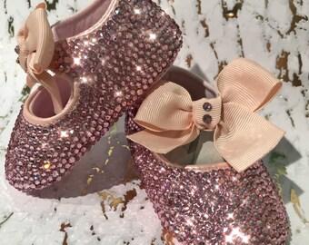 Baby girl Swarovski crystals shoes