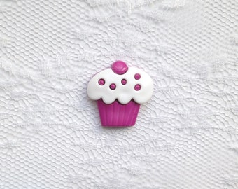 White and Purple Cupcake Lapel Pin