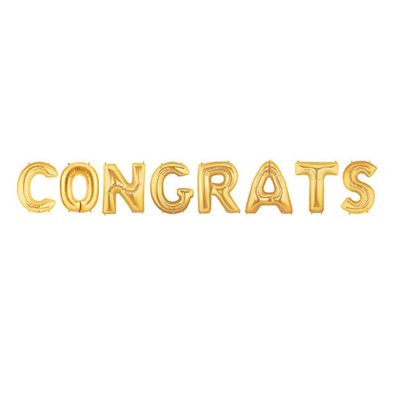 Congrats letter balloons congratulations balloon banner gold like this item thecheapjerseys Choice Image
