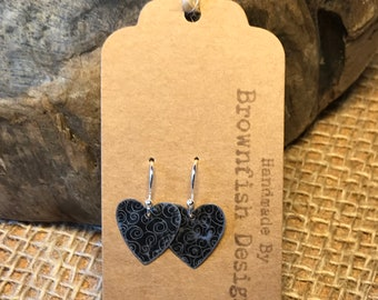 Up Cycled Tin Heart Earrings