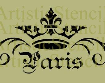 STENCIL Crown Paris Scroll 6.5x12
