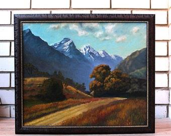 Original oil painting landscape mountains nature New Zealand