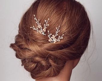 Beaded Rose Hair Pins, Rose Gold Hair Pieces, Pearl Hair Pins, Bridal Hair Comb, Rose Gold Babys breath, Babies Breath Hair clips, Wedding
