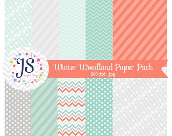 INSTANT DOWNLOAD - Winter Woodland Digital Paper, Mint printable paper, backgrounds, aqua digital paper