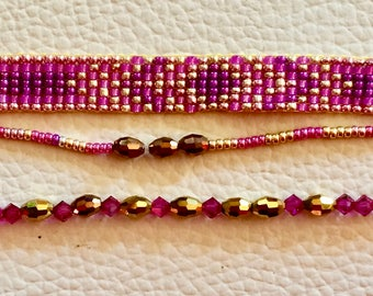 woven cuff set made with beads