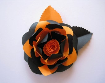 Black and Orange Paper Flower, Halloween Flowers, Halloween Decorations, Orange Paper Decoration, Paper Wedding Decor, Handcrafted Gift
