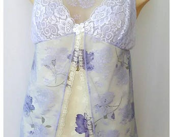 Chemise with purple flowers