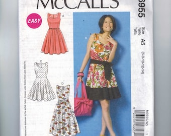 Misses Sewing Pattern McCalls M6955 6955 Misses Easy Full Skirt Laura Ashley Sleeveless Dress Size 6 8 10 12 14 UNCUT