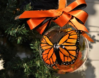 Monarch Butterfly handpainted ornament