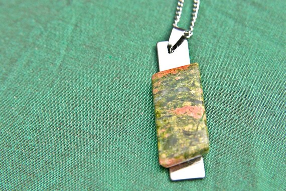 Unakite Jewelry, Gemstone Necklace, Pendant Cabochon, Healing Crystals, Unakite Gift for Her, birthstone