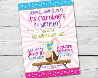 Gymnastics Birthday Invitation, Gymnastics Invitation, Gymnastics Invite, PRINTABLE, Gymnastics Birthday Party, Gymnastics Birthday