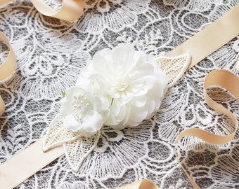 Bridal Sash Belt Wedding Sash Belt Ribbon Sash Belt - Flower Sash Belt - Ivory Wedding Dress Sashes Belts - Floral Sash Belt Bridesmaids