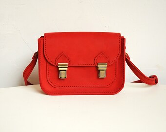 Leather crossbody purse, Red cross body bag, Messenger bag