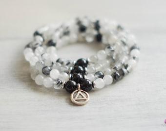 HEALING - Tourmilated Quartz 108 Mala - Balance - Zen Bracelet - Necklace - Spiritual - Meditation - Yoga - Jewelry