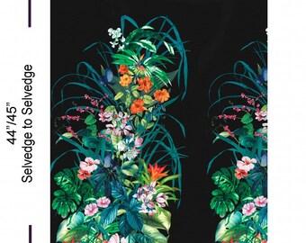 Flowers Fantasy Island Black Tropical Border Michael Miller Fabric Panel