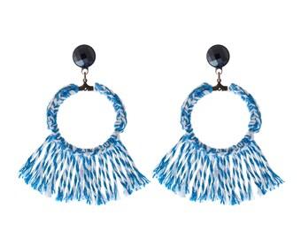 Blau, leicht weiche Statement Schmuck versandkostenfrei Naama Brosh, Quaste Ohrring, trendige Textil-Creolen