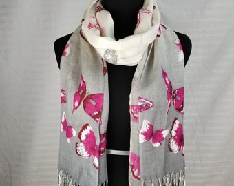 Pink Butterflies on White and Grey Ombre background Pashmina Scarf, Shawl, Wrap