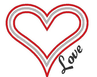 Heart with Love Machine Embroidery Design