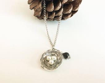 Necklace Essential Oil Diffuser Pendant Bird's Nest with Pearls - Jewelry Diffuser Essential Oils Aromatherapy
