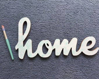 Hand Lettered Wood Home Sign